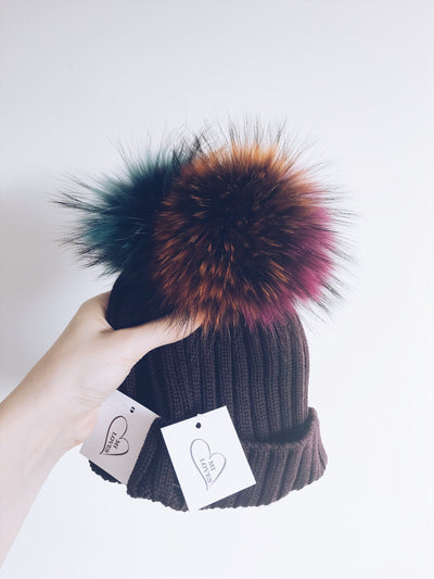 Luxurious Merino  Wool Rib Single pompom Adult-Big Kids hat