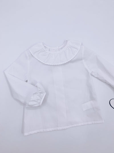 White MI LOVES SIGNATURE Frilly collar and sleeves blouse
