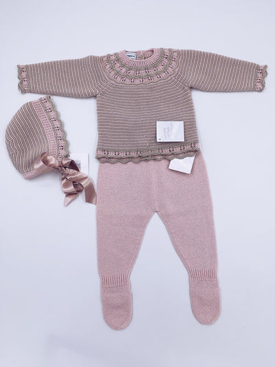Carmen Taberner Dusty pink knitted 3 piece set