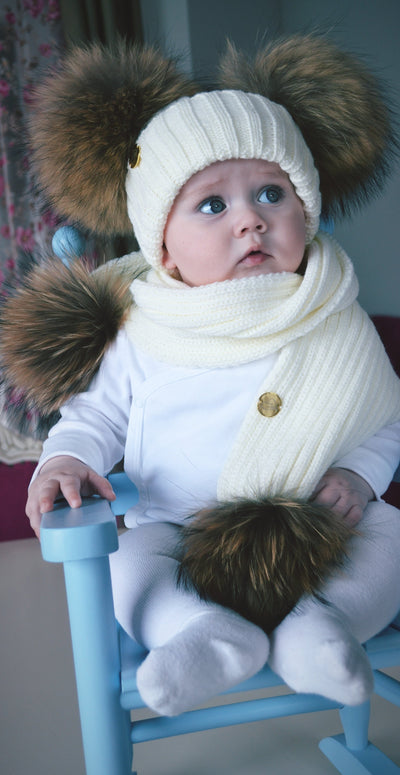 White custome made hat with Racoon PomPoms (huge 14cm PomPoms)