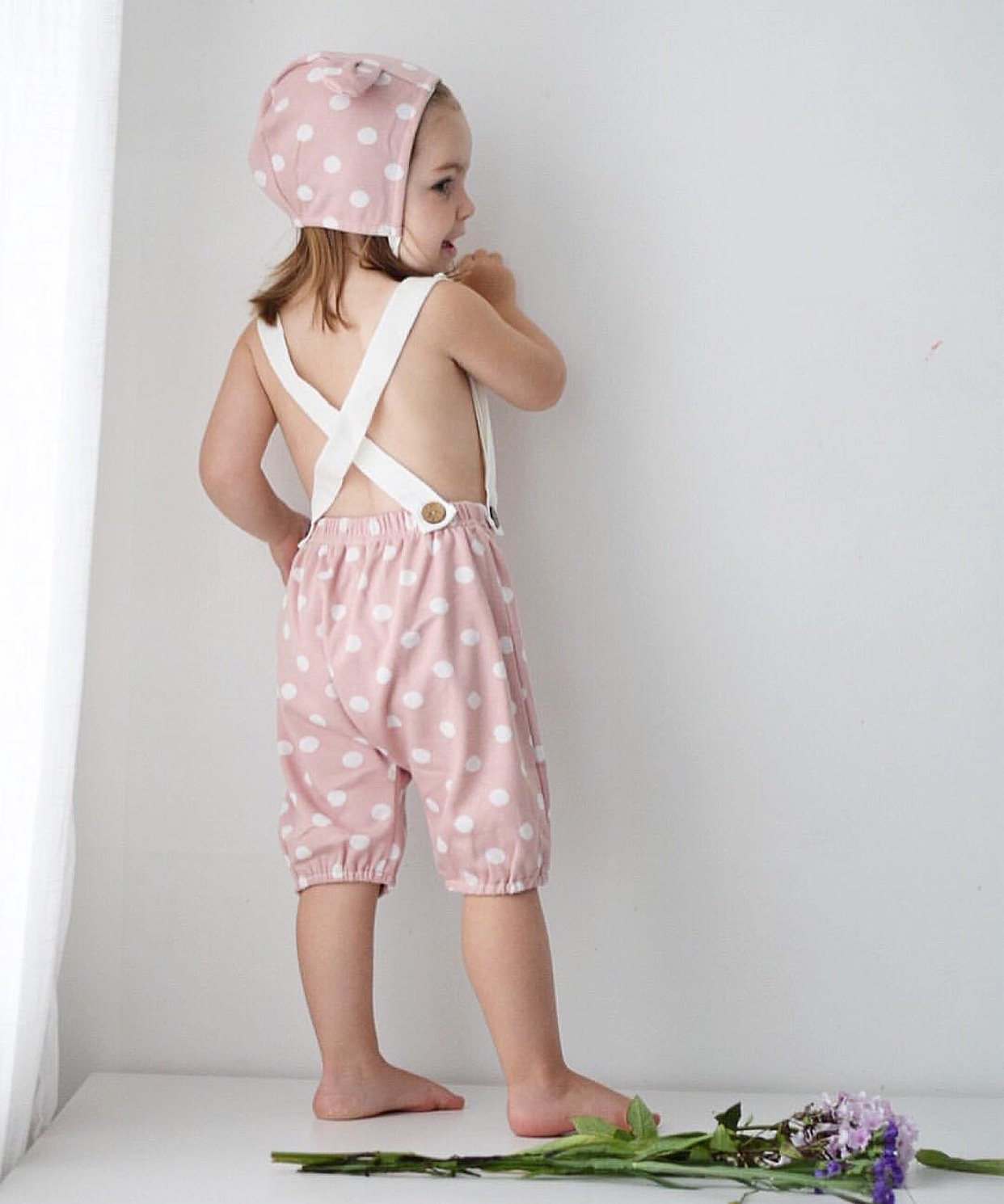 Pink bloomer shorts with suspenders