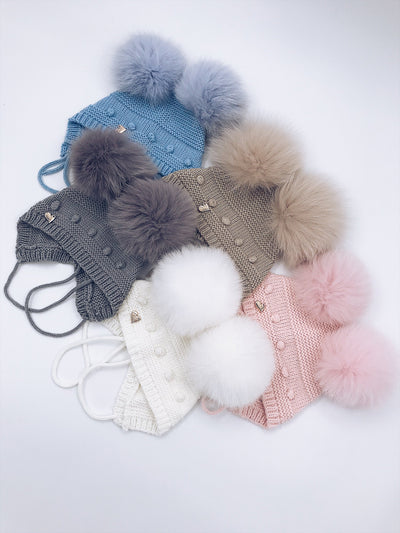 MI LOVES SIGNATURE KNITTED BABY BONNET WITH FOX FUR POMPOMS!!