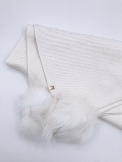 NEW!!MI LOVES Signature Knitted Angora Baby blanket with 4 pompoms