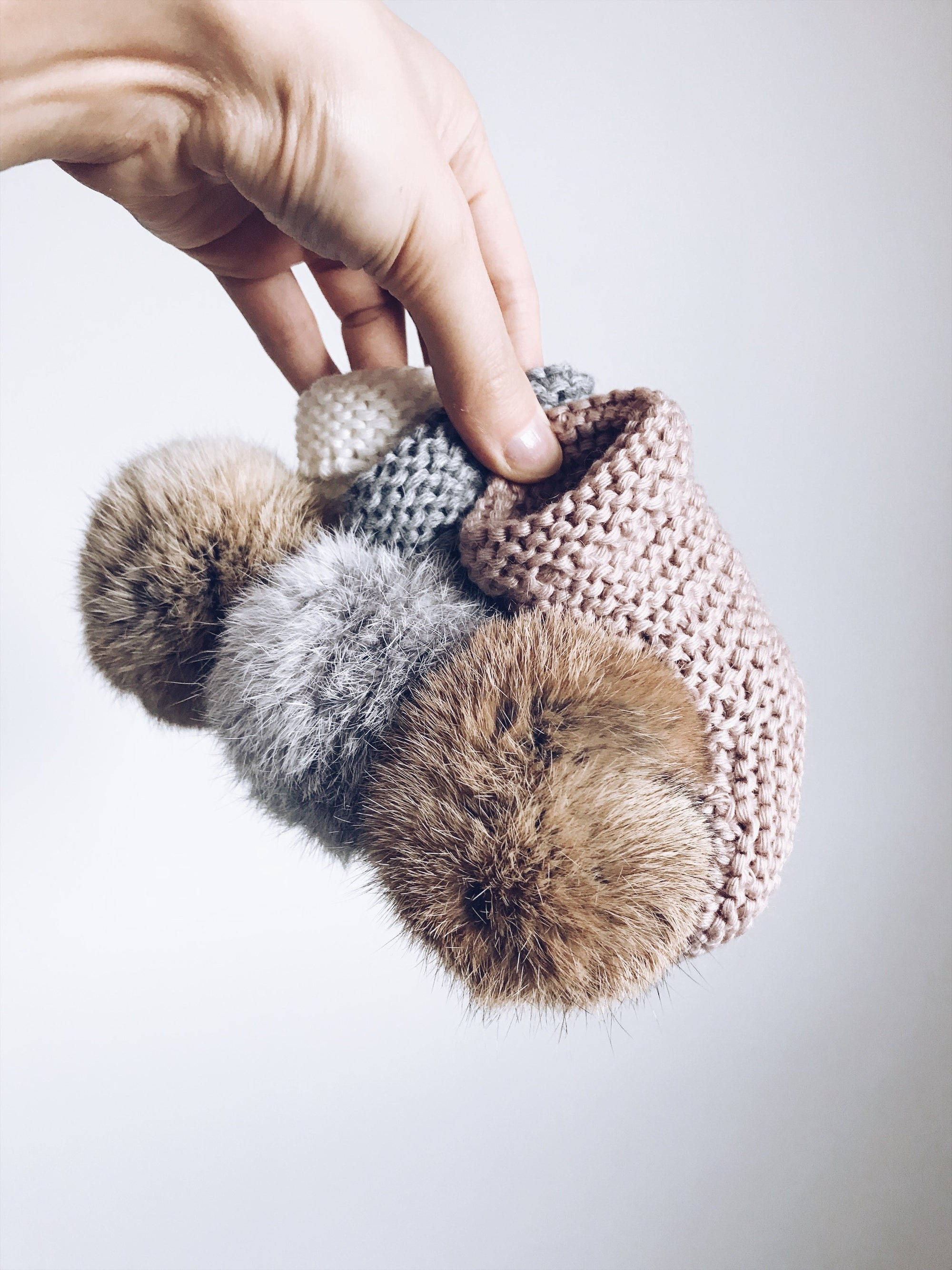 MILOVES Signature Hand Knitted baby booties with rabbit fur pompom