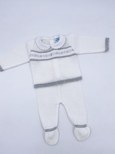 Beautiful knitted baby set (Ivory with grey details N152)