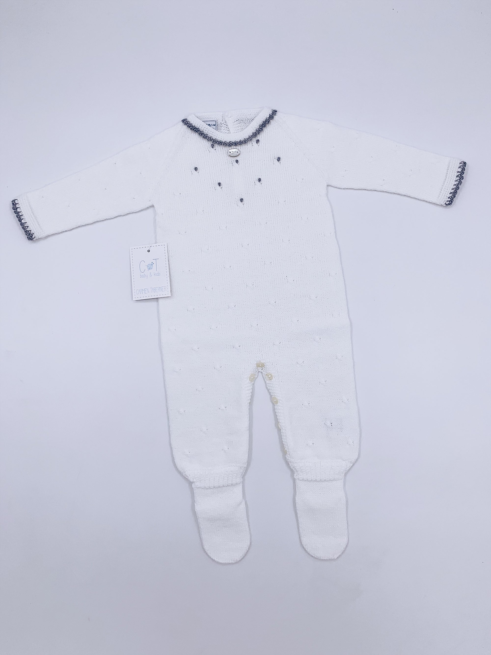 Classic/Timeless white knitted babygrow