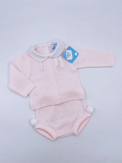 Beautiful knitted shorts set with pompom details in Baby Pink(N707)