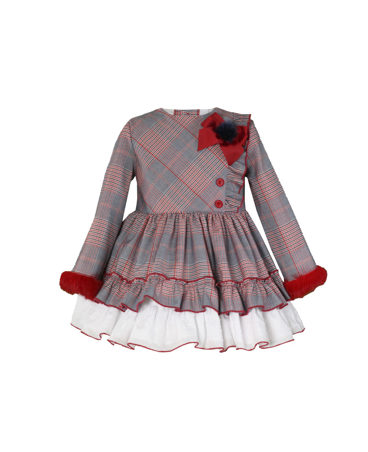 Miranda Grey/Red Check Puffball dress.
