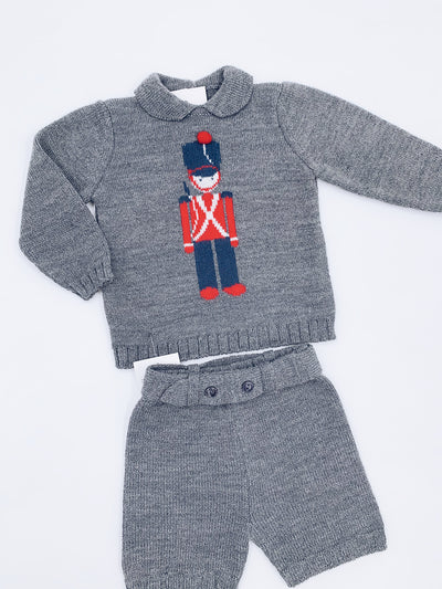 Boys Knitted 2 piece set with Classic Queen's Guard print.