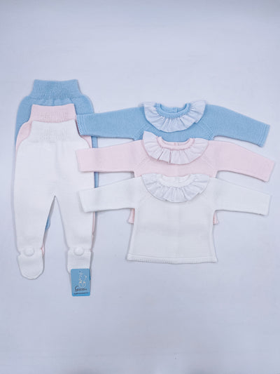 Knitted 2 piece baby set with frill collar details