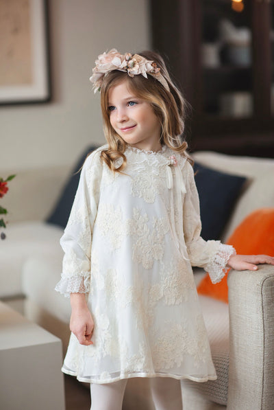 Beautiful Rochy AW 20/21 Ivory A-line dress with Lace details.