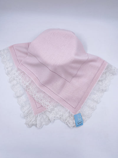 Beautiful Dusty pink knitted blanket with lace trim(98cm)
