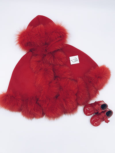 MI LOVES SIGNATURE LUXURIOUS FOX FUR TRIM CAPE IN RED!