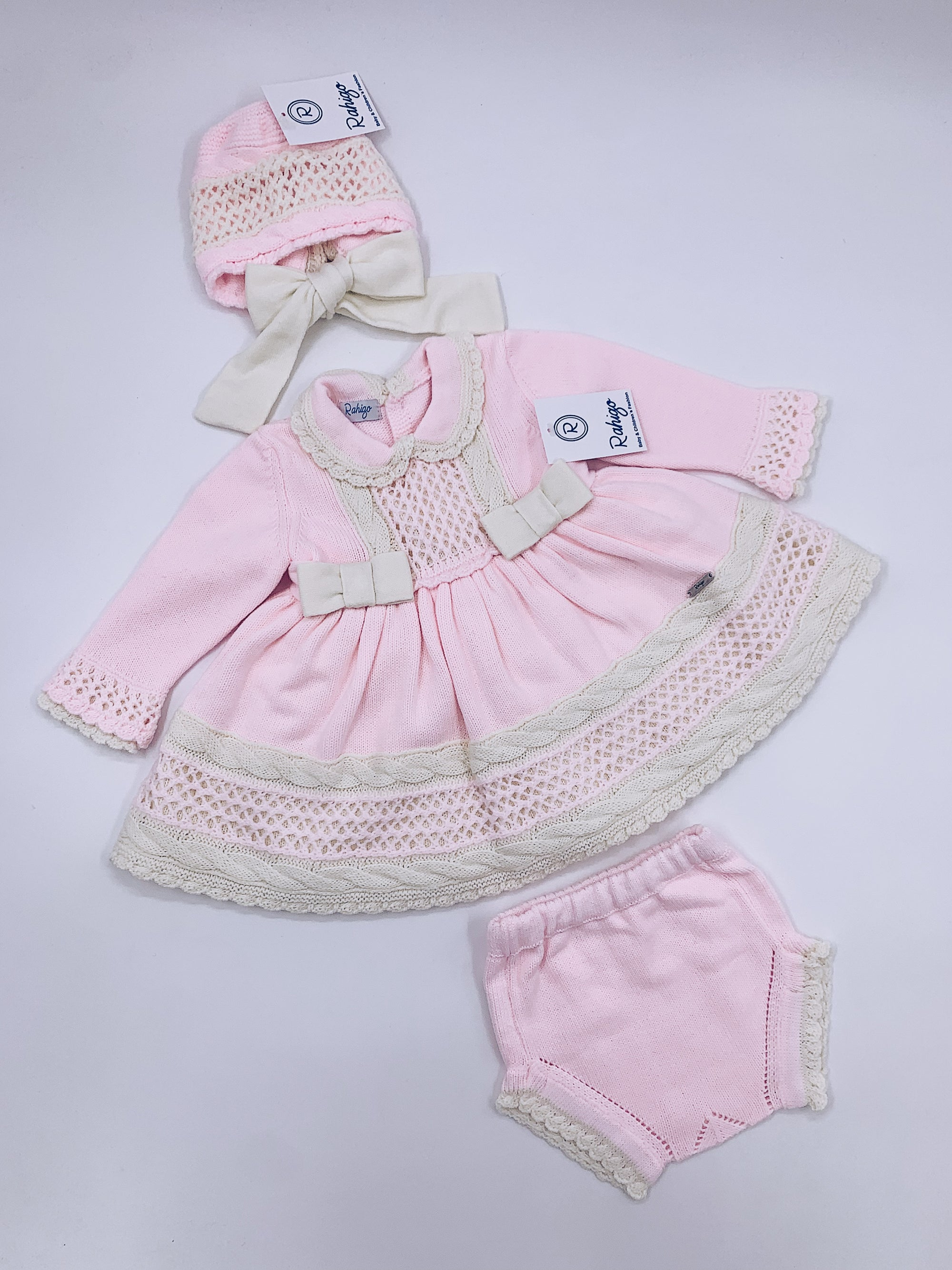 Pink Rahigo 3 piece set (Dress,Bloomers,Bonnet)