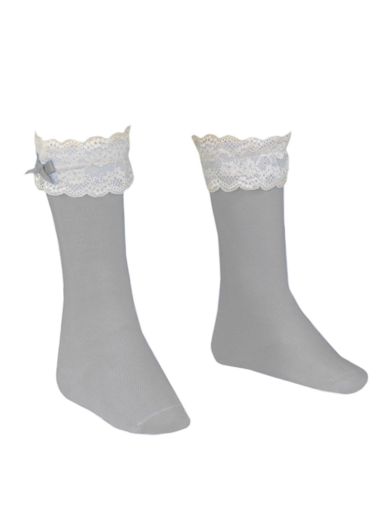 MIRANDA Grey Knee high socks with frill details
