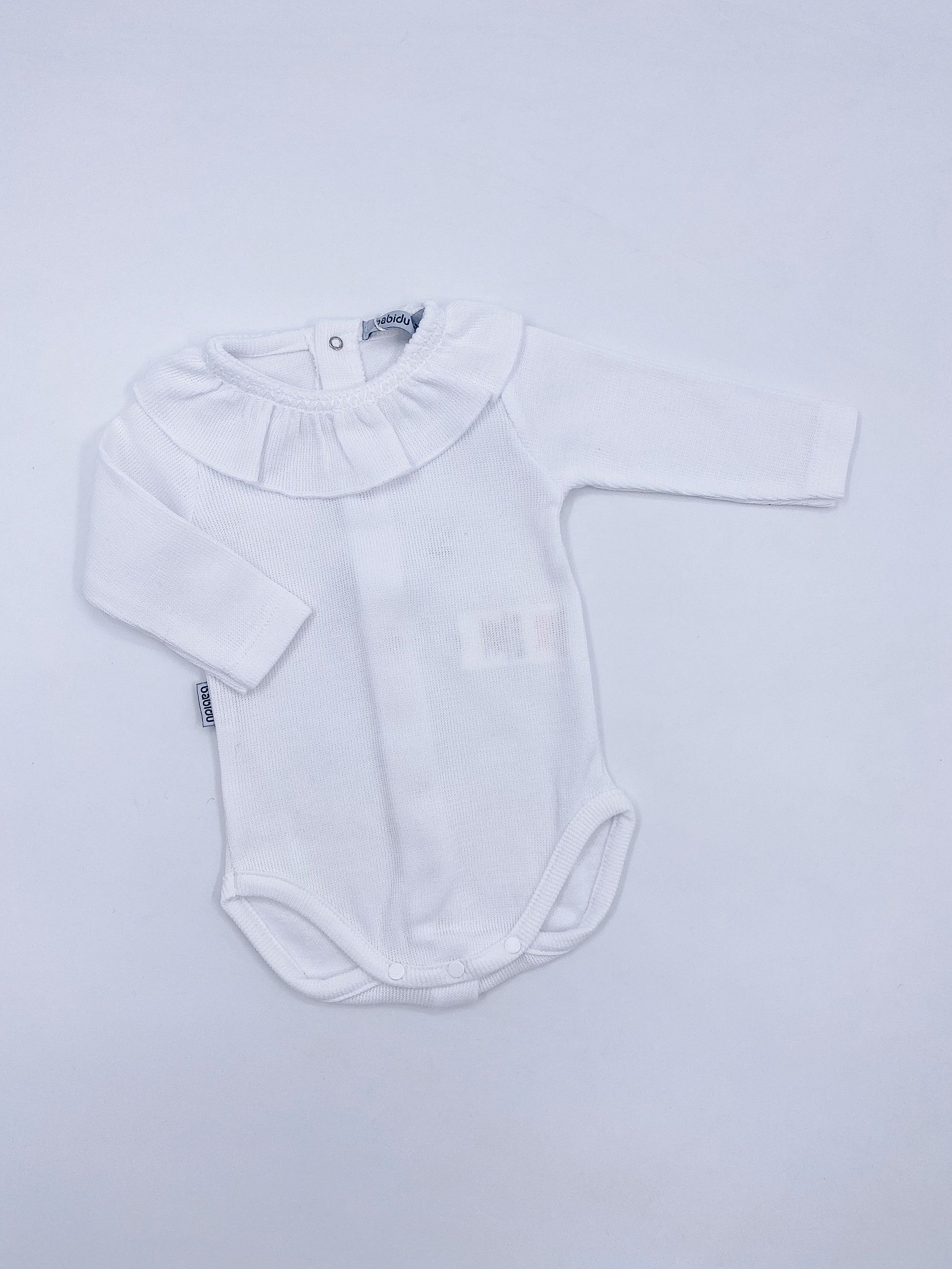 White cotton bodysuit with beautiful frilly neck details