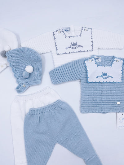 Beautiful Knitted 3 piece set with crown embroidery details.