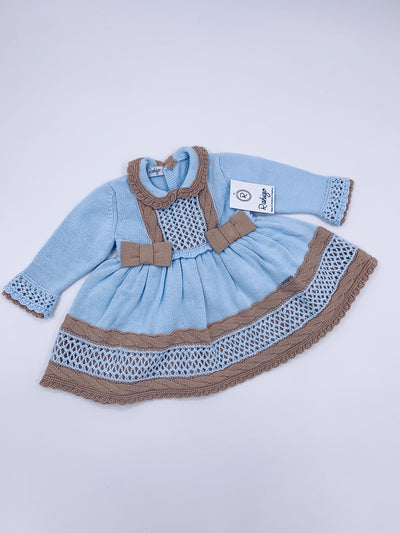 Baby Blue Rahigo 3 piece set(Dress,Bloomers,Bonnet)