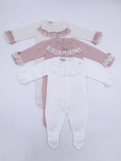 Beautiful White knitted babygrow with lace details