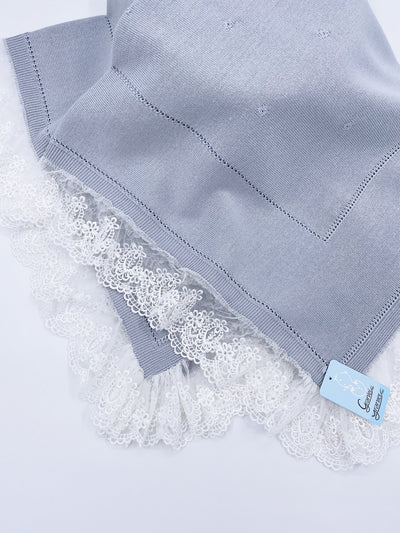 Beautiful Grey knitted blanket with lace trim(98cm)