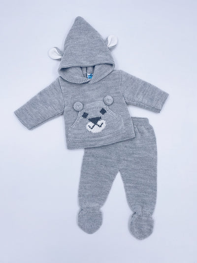 Grey knitted bear 2 piece set