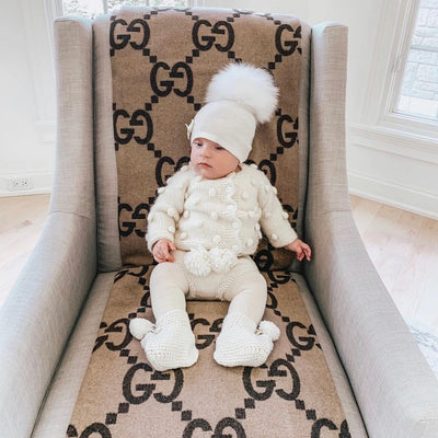 MI LOVES SIGNATURE LUXURIOUS FINE KNIT ANGORA HAT WITH FOX FUR POMPOM (with Bow)
