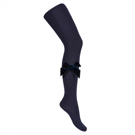 MI LOVES SIGNATURE Tights with Luxurious velvet bows Navy(480)