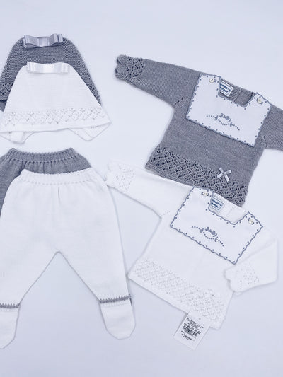 Beautiful knitted BABY 3 piece set .