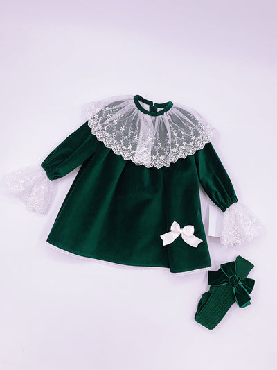 Beautiful Sonata deep green velvet dress with ivory Lace details