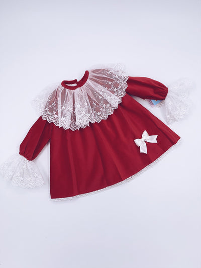 Beautiful Sonata Red velvet dress with Ivory lace details