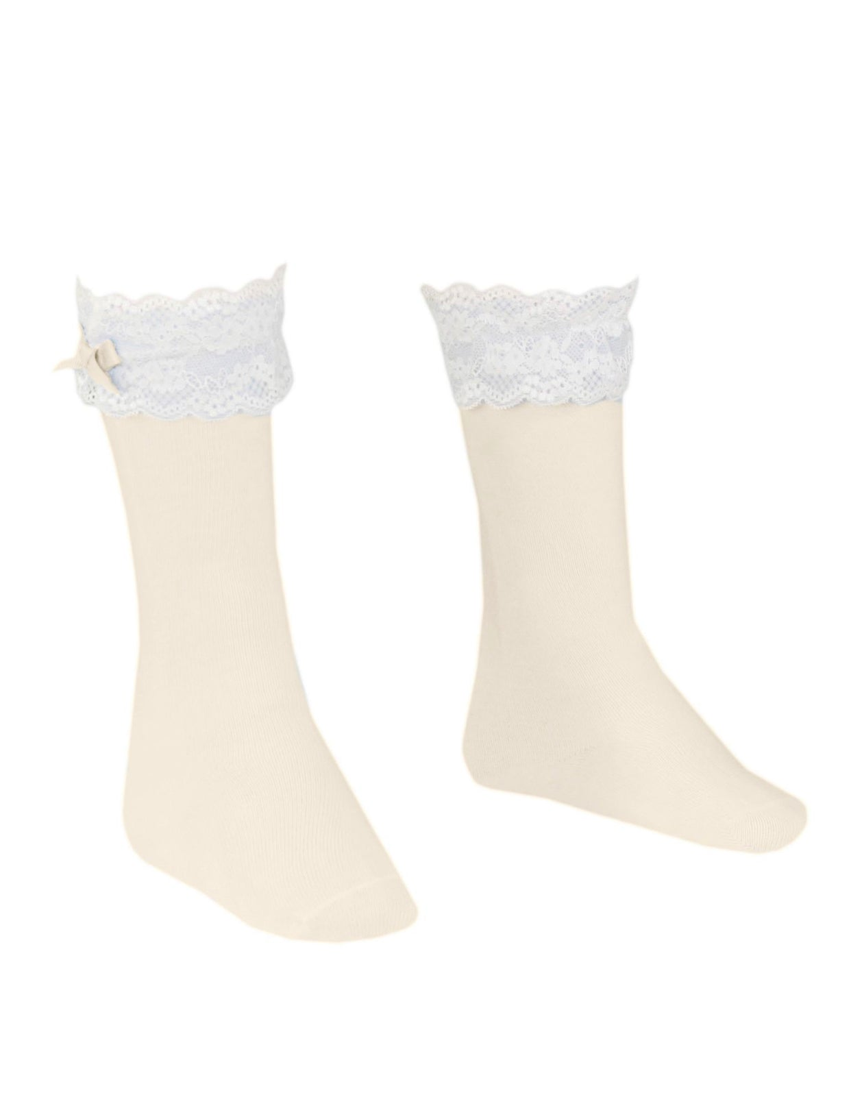 MIRANDA Ivory Knee High socks with frilly details