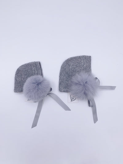 MI LOVES SIGNATURE LUXURIOUS ANGORA BONNETS WITH FOX FUR POMPOM
