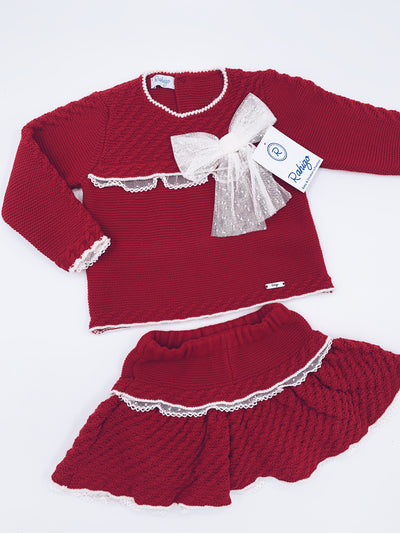 Rahigo Knitted 2 piece set with lace/bow details.