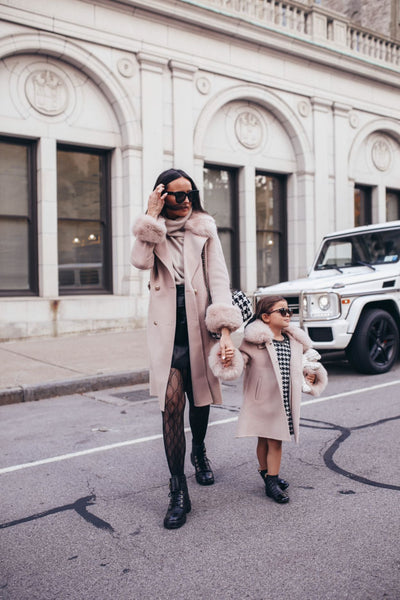 MI LOVES SIGNATURE Luxurious Cashmere kids coat with Fox fur trim and cuffs in Beautiful Nude colour