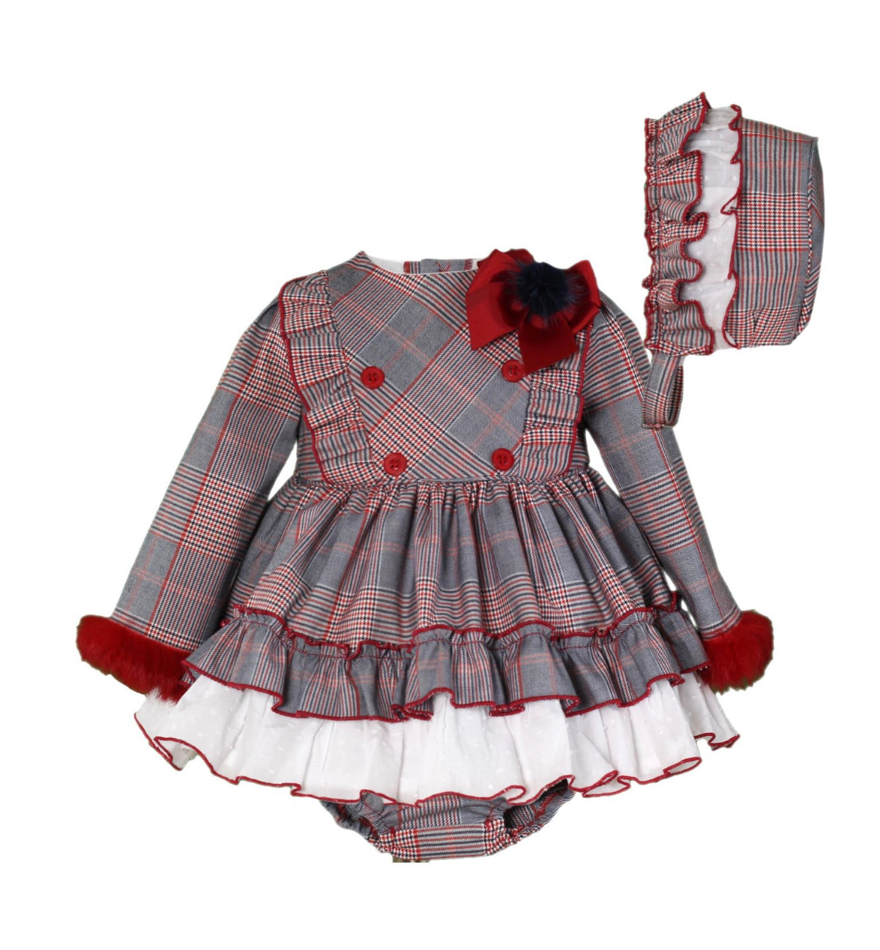 Miranda Grey/Red check Dress 3 piece set(dress,bloomers,bonnet)