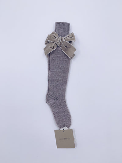 Beautiful Knitted High Knee Socks With Velvet Bows