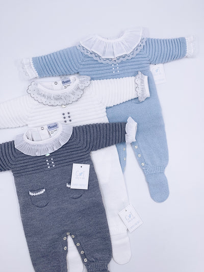 Beautiful/Classic Carmen Taberner Knitted babygrow with Little pockets Details