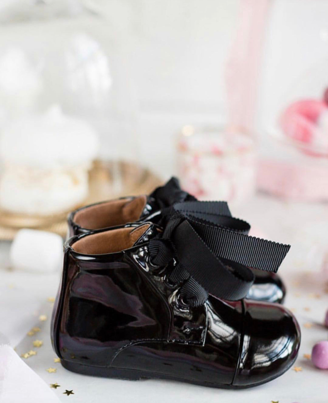 Age Of Innocence JANE Boots in Black Patent Leather