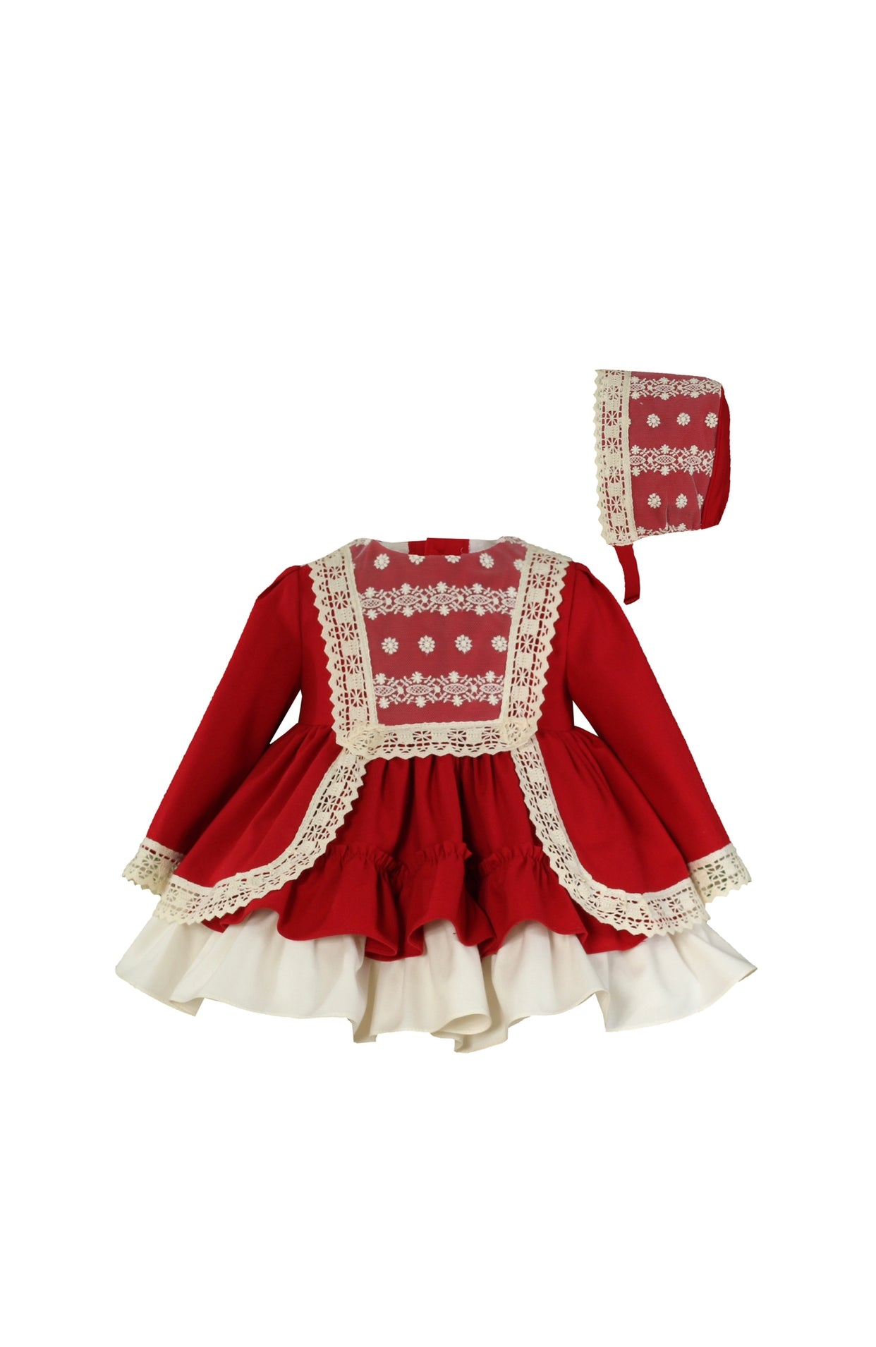 MIRANDA Red Puffball dress and bonnet set