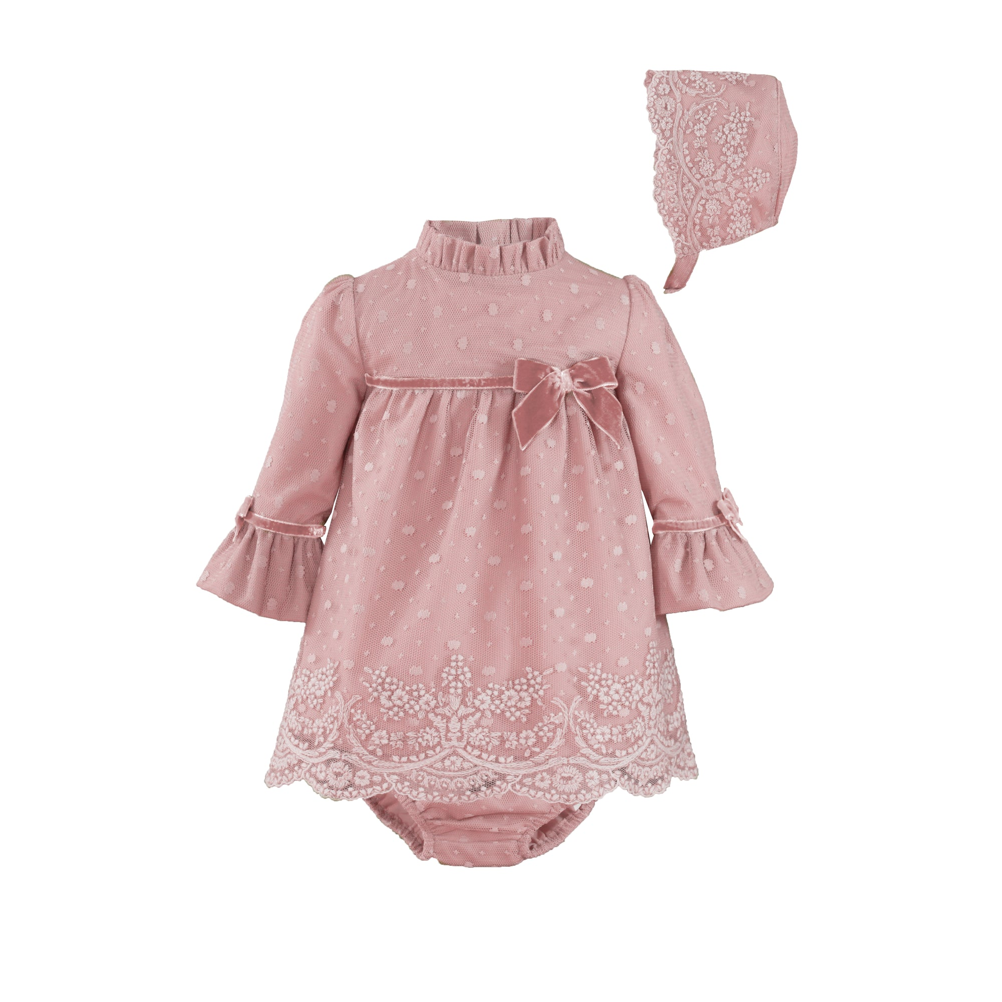Beautiful Miranda Dusty pink Dress/bloomers/bonnet 3 piece set