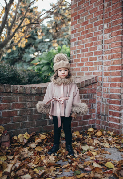 Luxurious Racoon fur trim and cuffs kids poncho