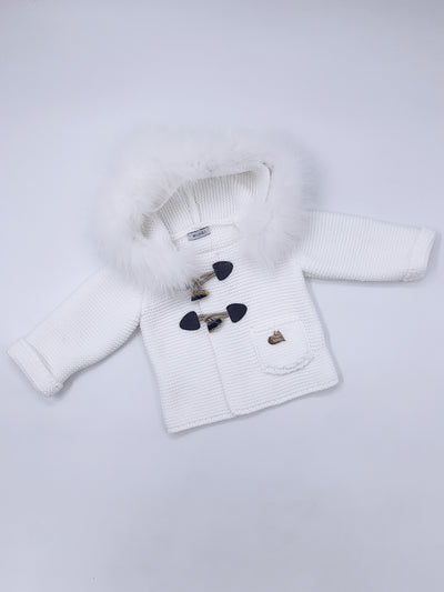 MI LOVES SIGNATURE Knitted Luxurious Fox fur trim Cardigan in White .