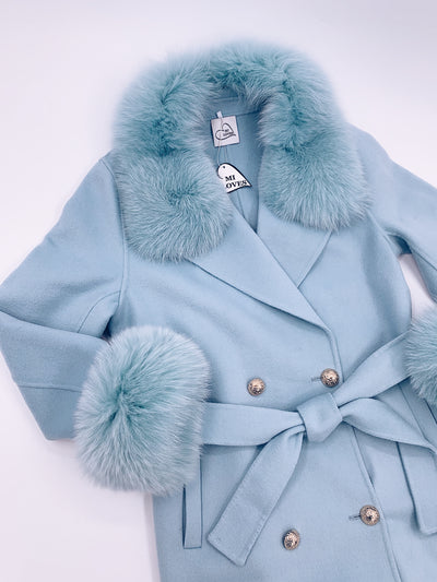 Beautiful Cashmere blend jacket with Fox fur trim/cuffs