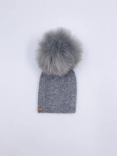 MI LOVES SIGNATURE Angora Adult/Big kids hat with Synthetic fur pompom