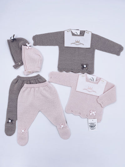 Beautiful Royal knitted 3 piece baby set.