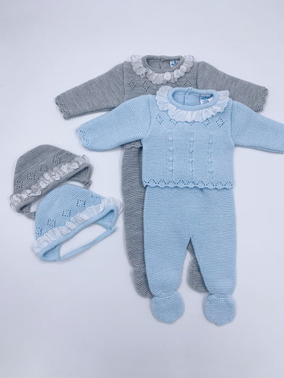 Knitted Baby 3 piece set (Top/Leggings/Bonnet)