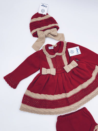 Red Rahigo 3 piece set (Dress,Bloomers,Bonnet)