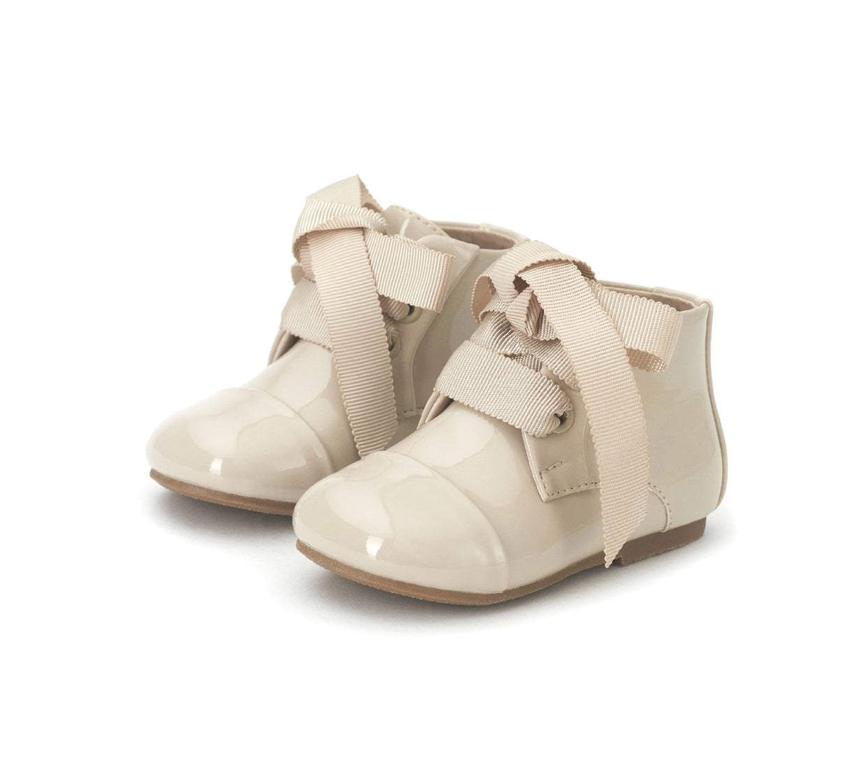Age Of Innocence JANE Boots in Beige Patent  Learher.