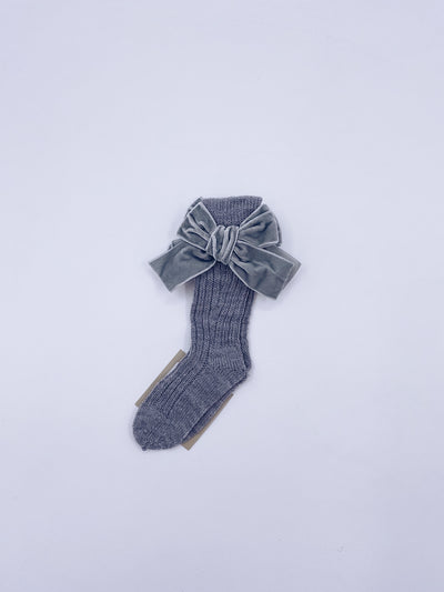 Beautiful knitted socks with Luxurious velvet bows