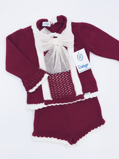 Rahigo Burgundy/Cream  Short 2 piece set with bow details.